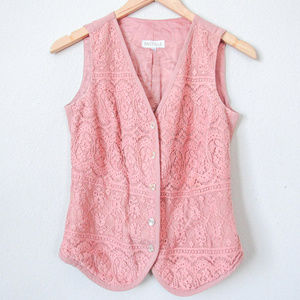 VINTAGE Pink Lace Button Down Vest SZ XS/S